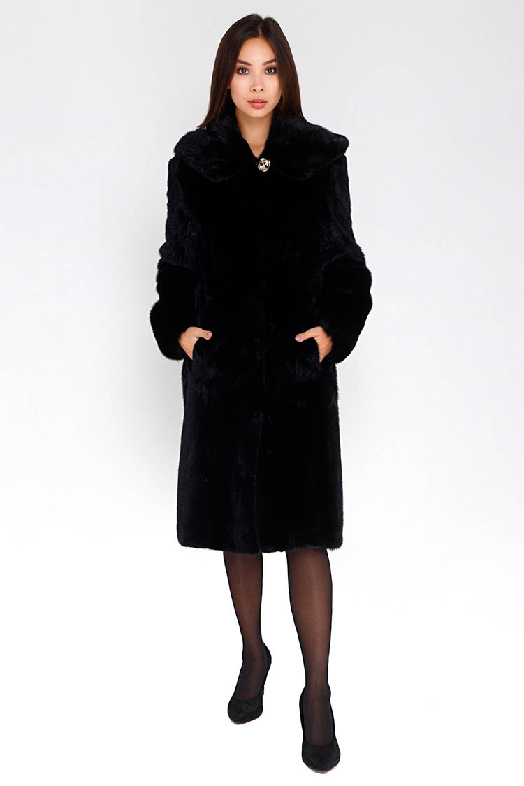 Шуба женская из норки черная, модель 8191