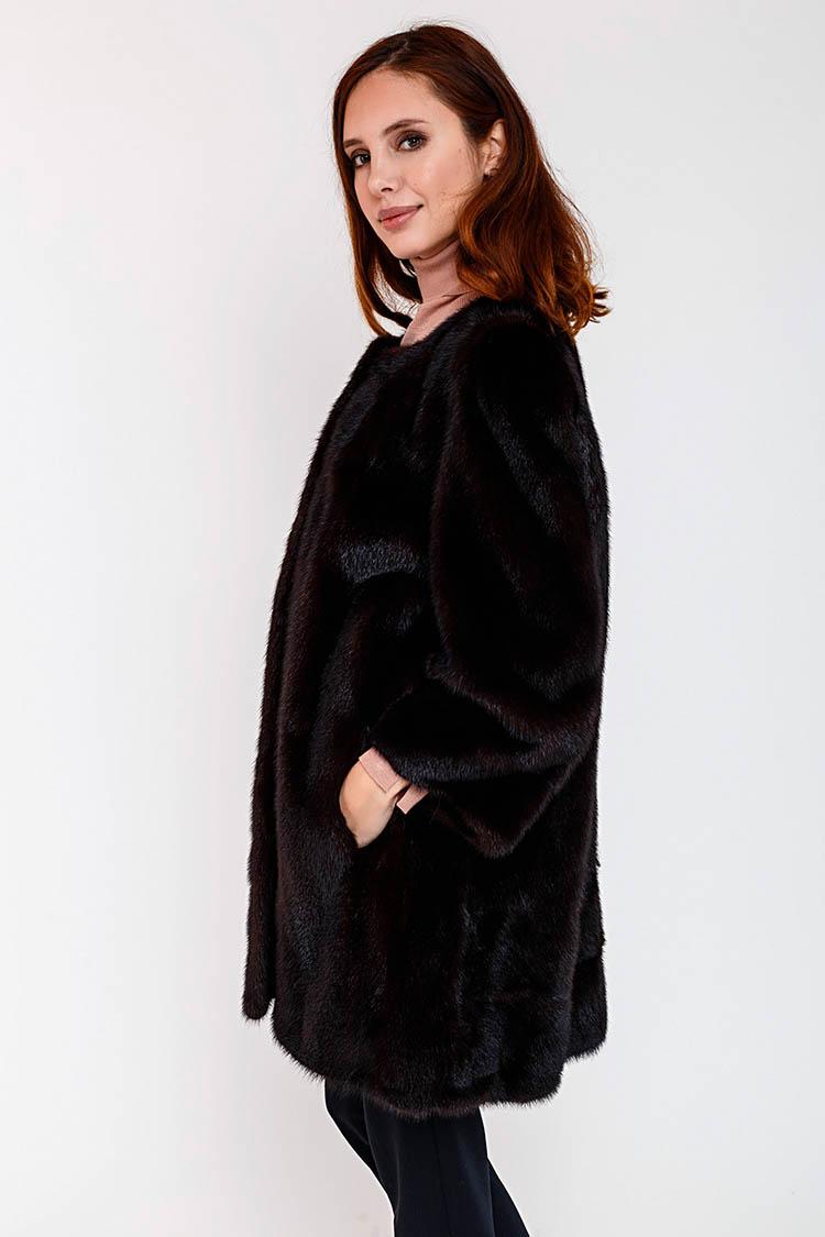 Шуба женская из норки коричневая, модель SMG-3