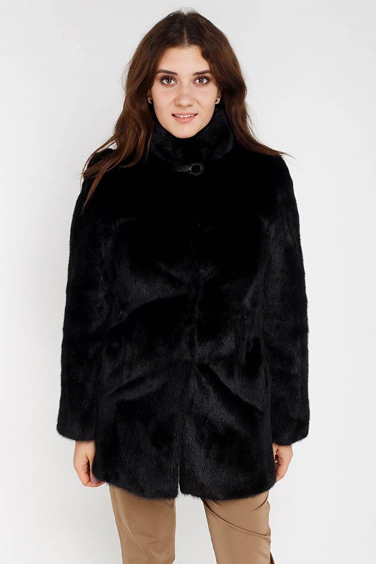 Шуба женская из норки черная, модель 2378