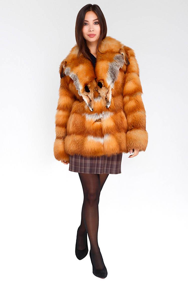Шуба жiноча з лисиці коричнева, модель 2743