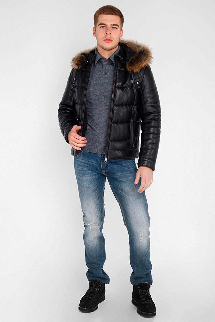 Куртка мужская из натуральной кожи черная, модель F-320
