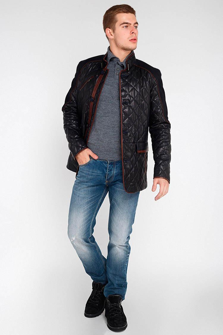 Куртка мужская из натуральной кожи синяя, модель D-84