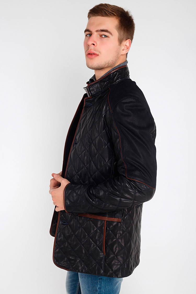 Куртка чоловіча з натуральної шкіри синя, модель D-84