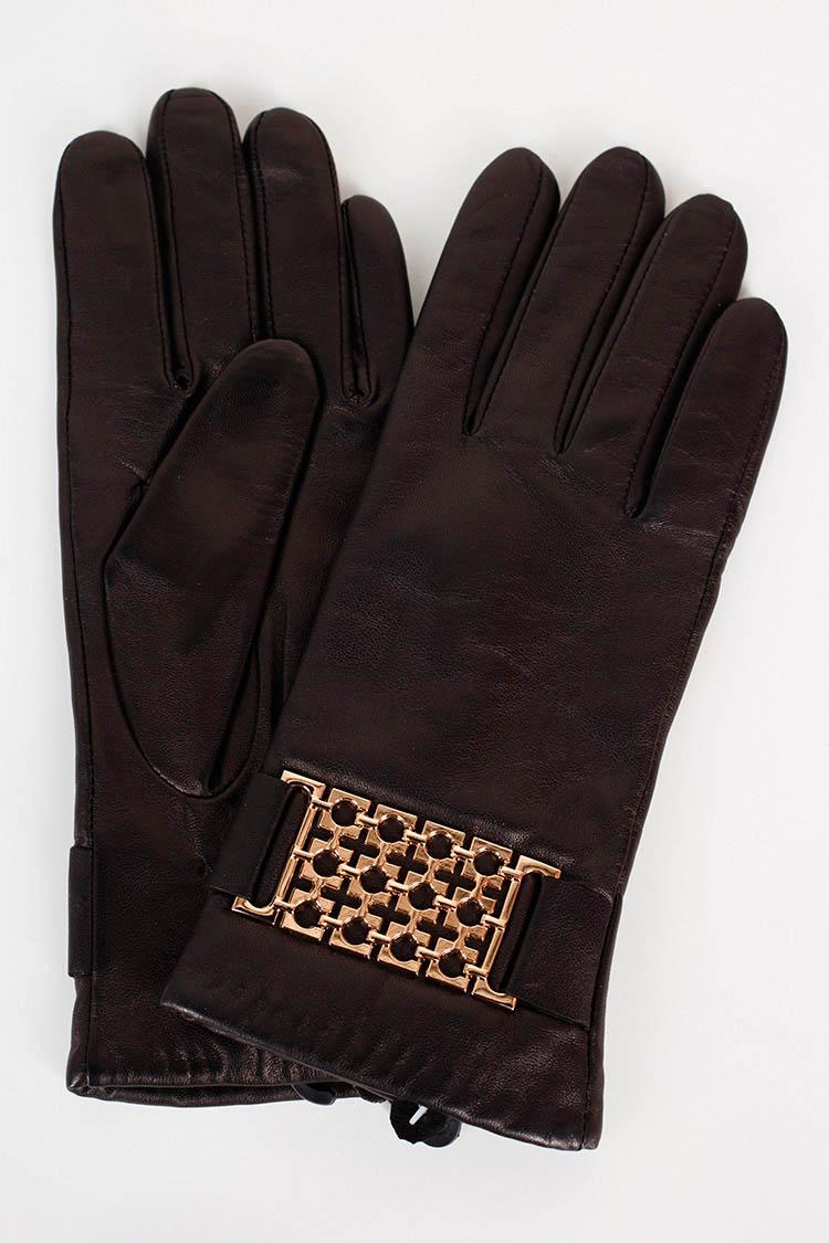 Перчатки женские из натуральной кожи черные, модель 1717