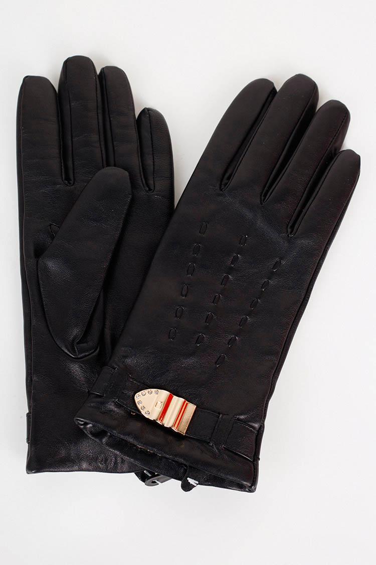 Перчатки женские из натуральной кожи черные, модель 15076