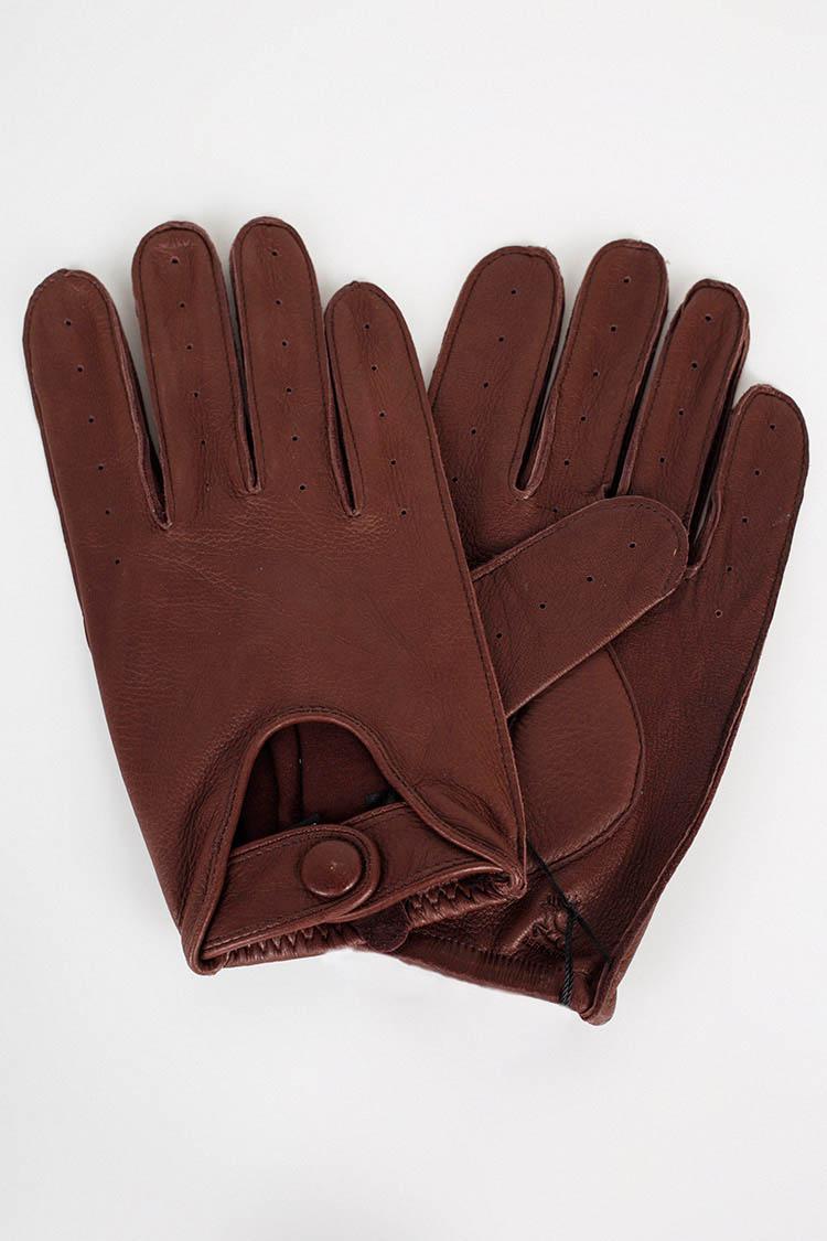 Рукавички чоловiчi з натуральної шкіри коричневі, модель 322