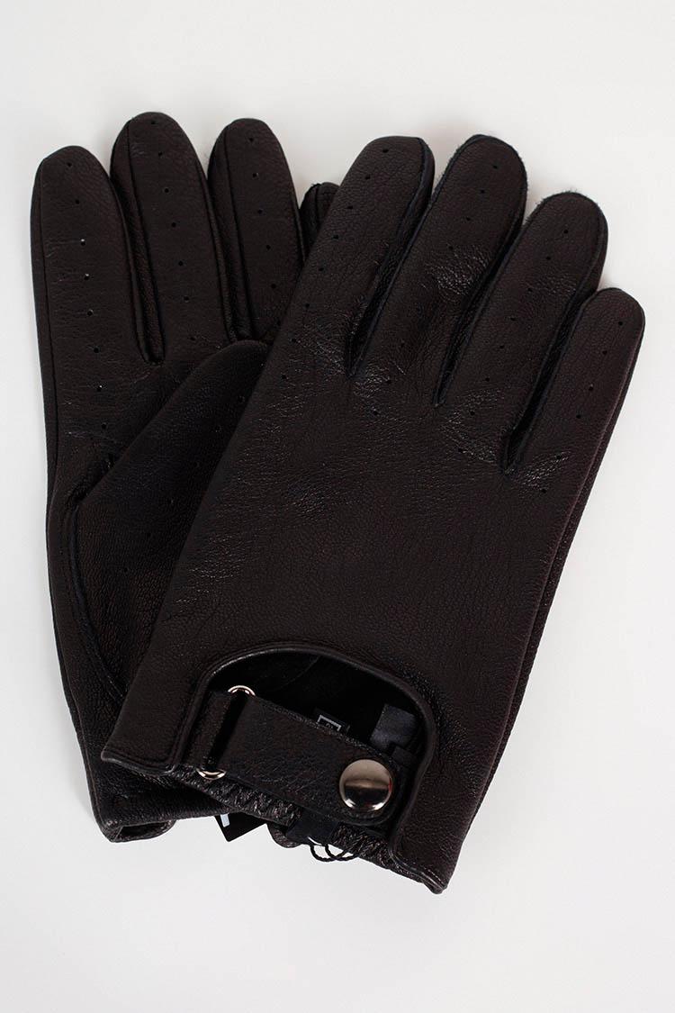 Рукавички чоловiчi з натуральної шкіри чорні, модель 374