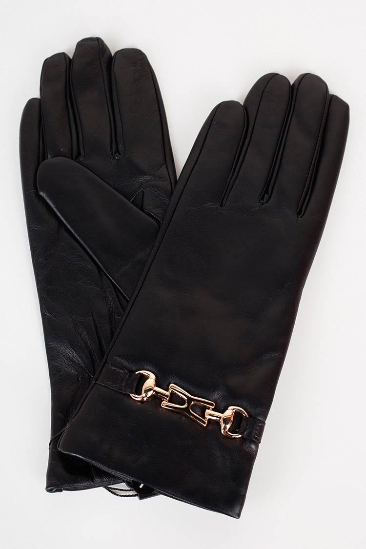 Перчатки женские из натуральной кожи черные, модель 17037