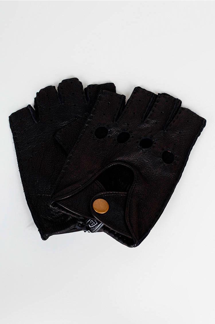Рукавички чоловiчi з натуральної шкіри чорні, модель 905M-K/спорт