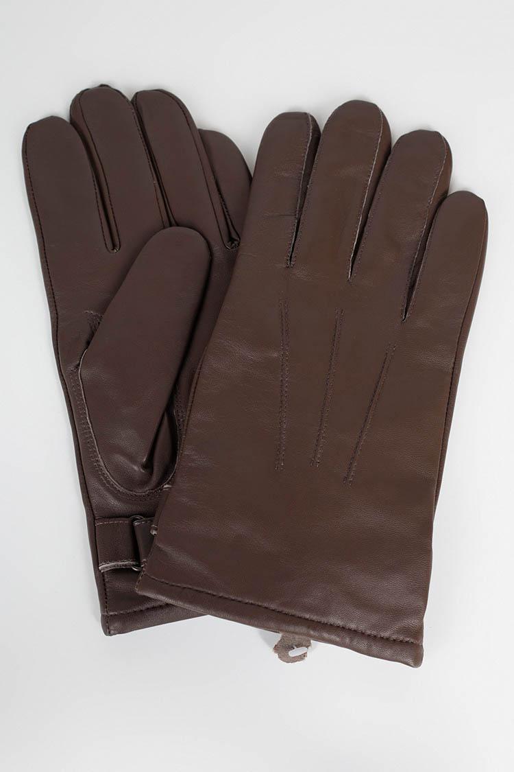 Рукавички чоловiчi з натуральної шкіри коричневі, модель 661