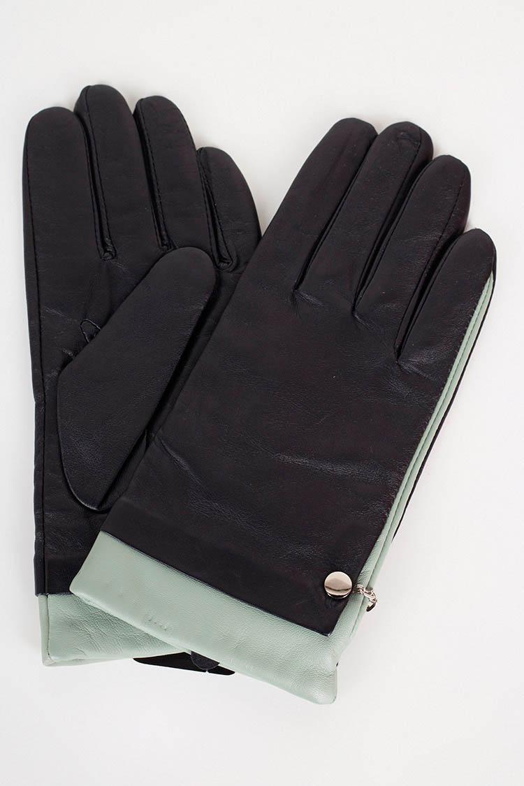 Перчатки женские из натуральной кожи черные, модель 16029