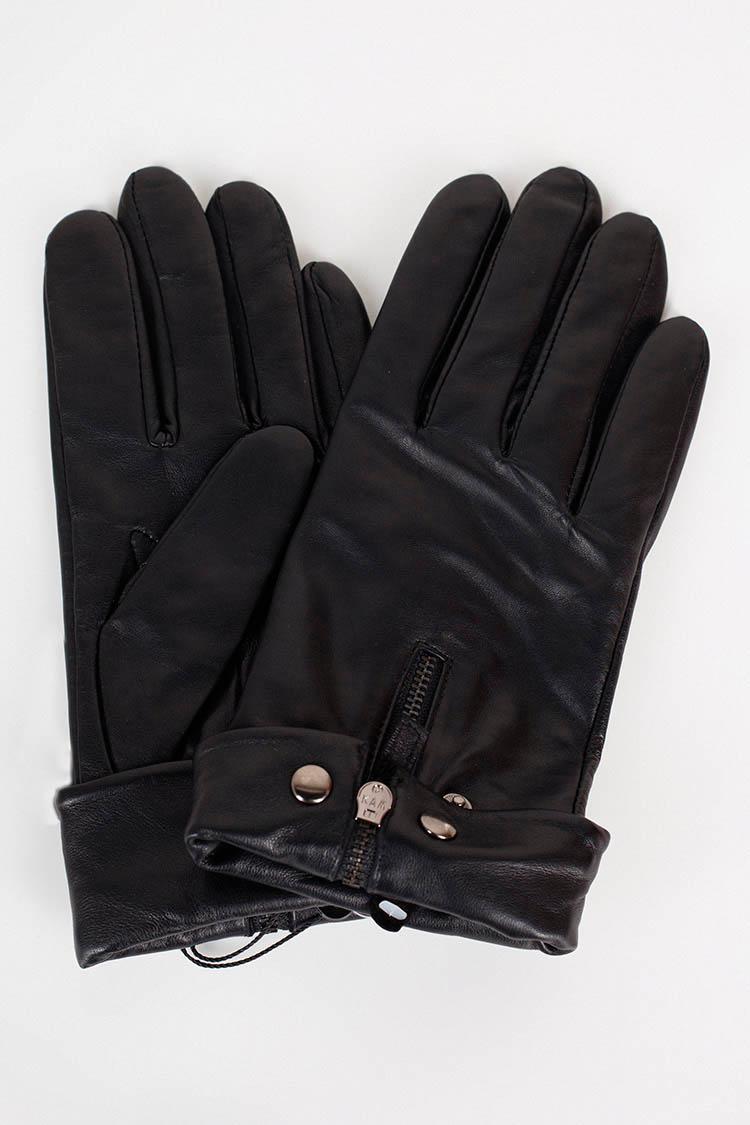 Перчатки женские из натуральной кожи черные, модель 15170