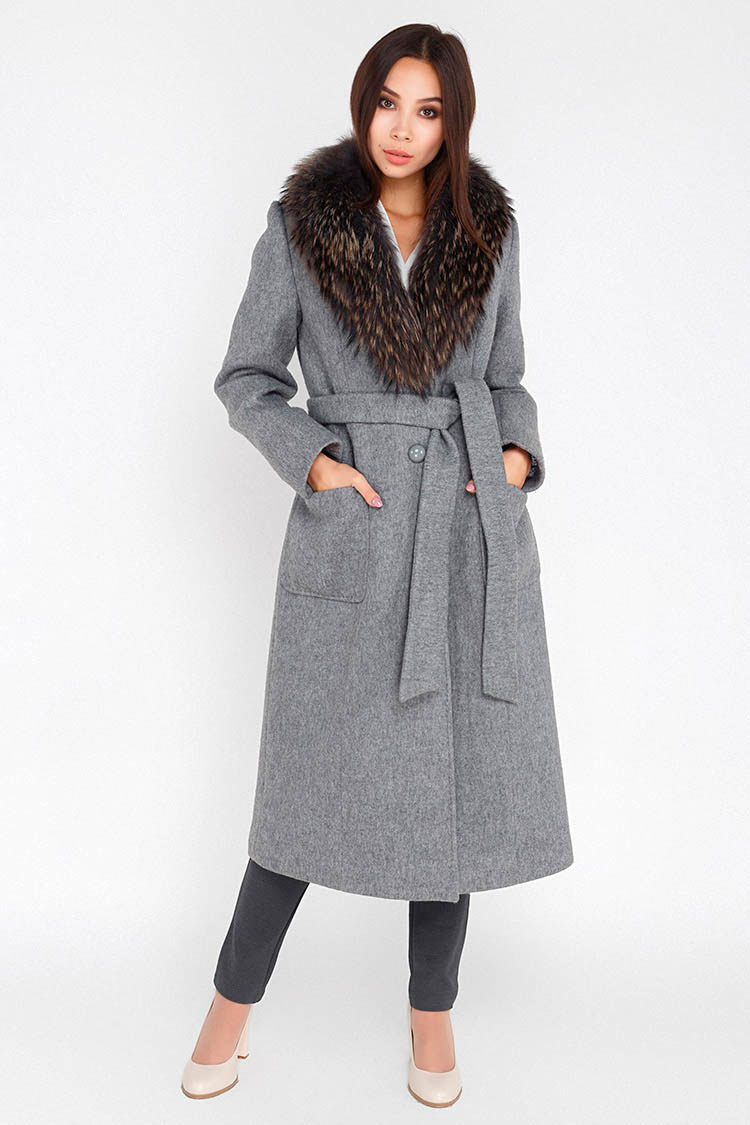 Пальто женское из шерсти серое, модель M 1714/UZUN