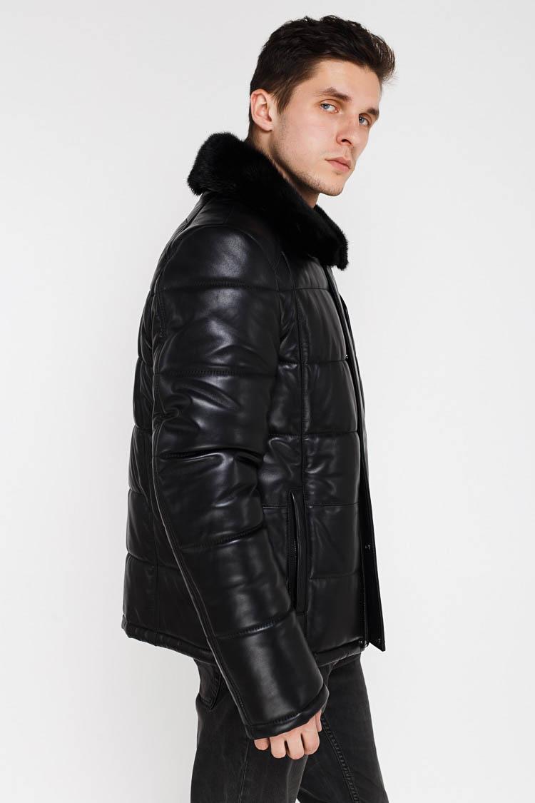 Куртка чоловіча з натуральної шкіри чорна, модель 13948