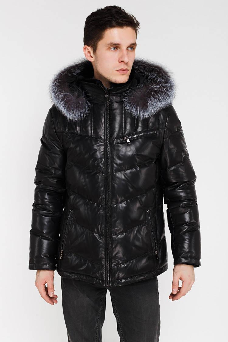 Куртка чоловіча з натуральної шкіри чорна, модель SF 16203