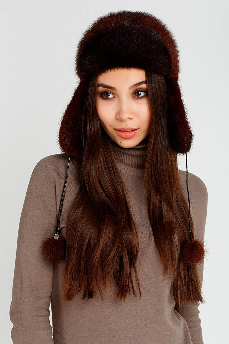 Шапка женская из норки коричневая, модель жокейка