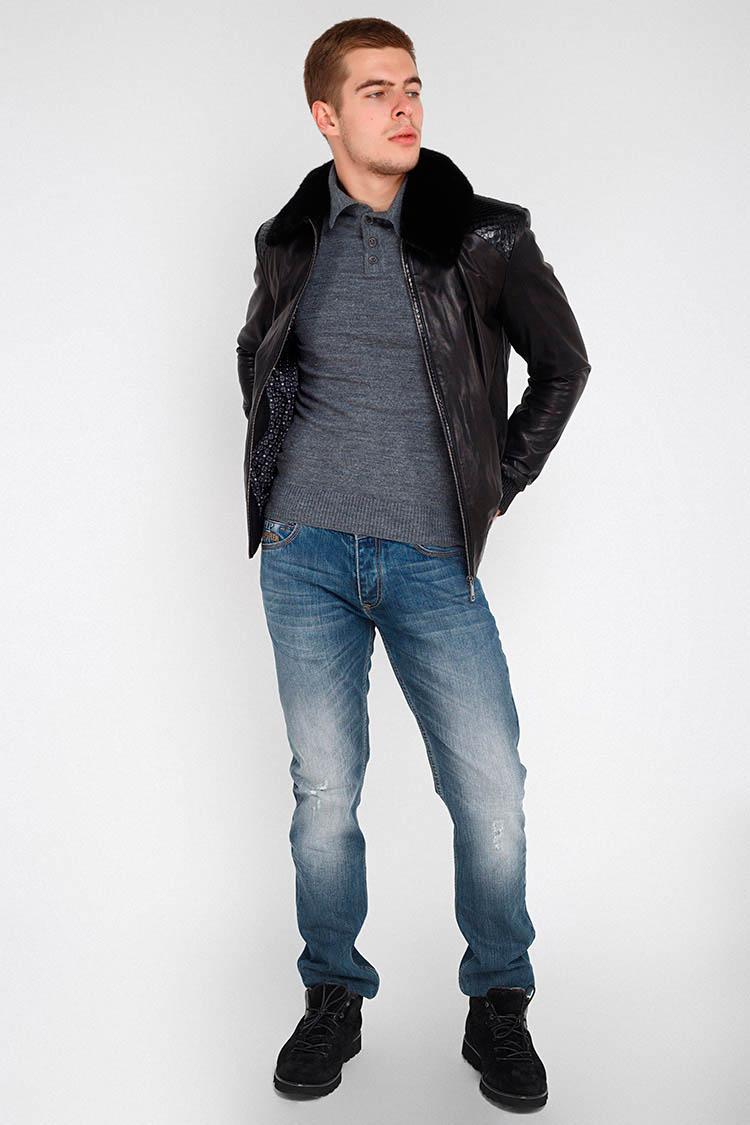 Куртка утепленная мужская из натуральной кожи черная, модель GK-11