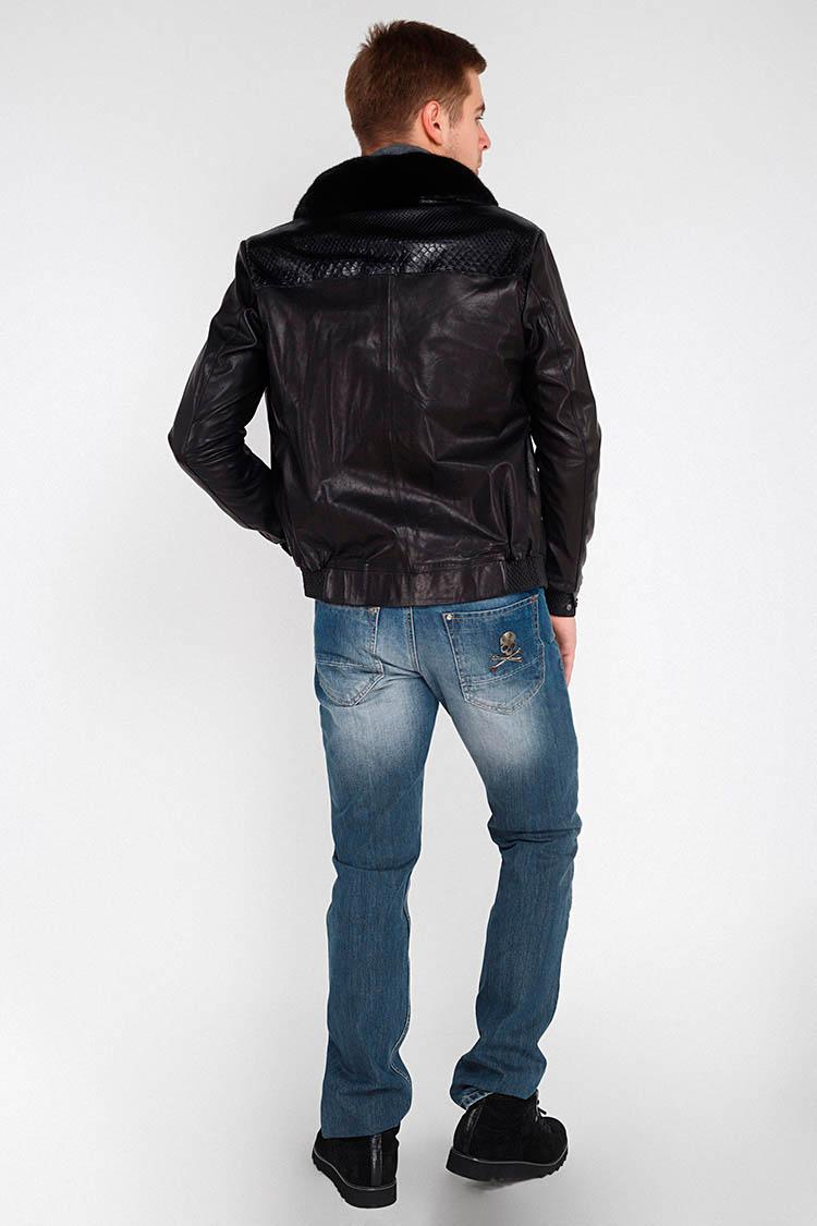 Куртка чоловіча з натуральної шкіри чорна, модель GK-11