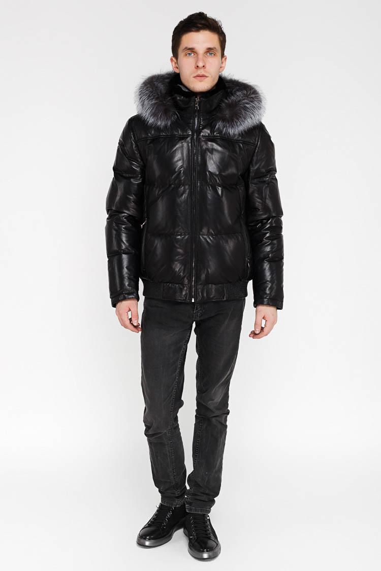 Куртка утепленная мужская из натуральной кожи черная, модель SF 8204