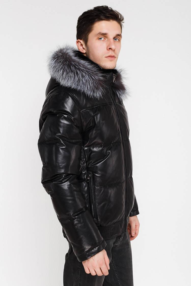 Куртка чоловіча з натуральної шкіри чорна, модель SF 8204