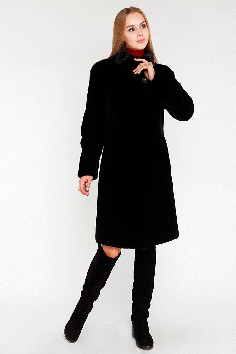 Шуба женская из мутона черная, модель 15152