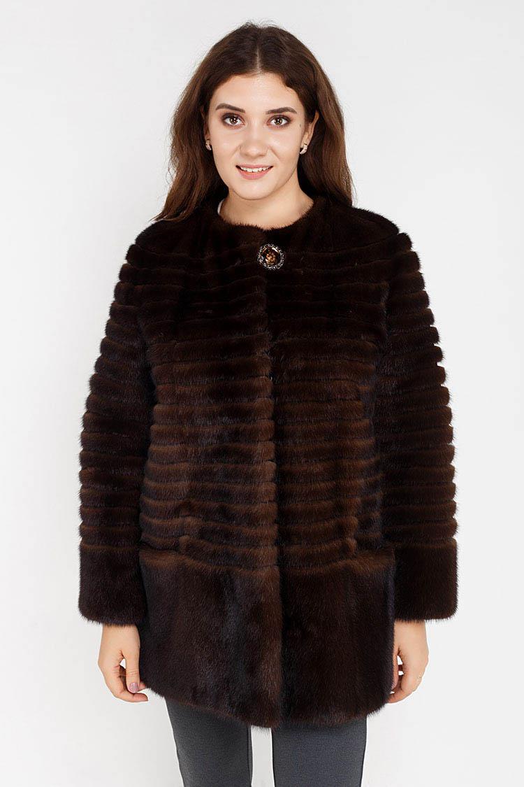 Шуба женская из норки коричневая, модель HK-002/80