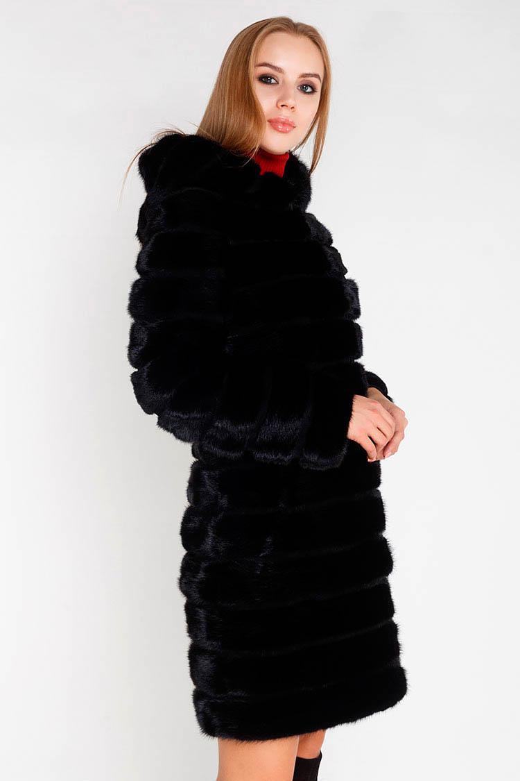Шуба женская из норки черная, модель 7020-1/KPS