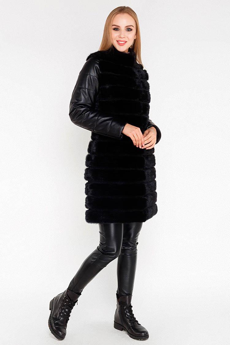 Куртка утеплена жiноча з натуральної шкіри чорна, модель 6010