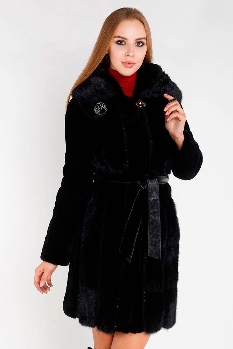 Шуба женская из мутона черная, модель 7011