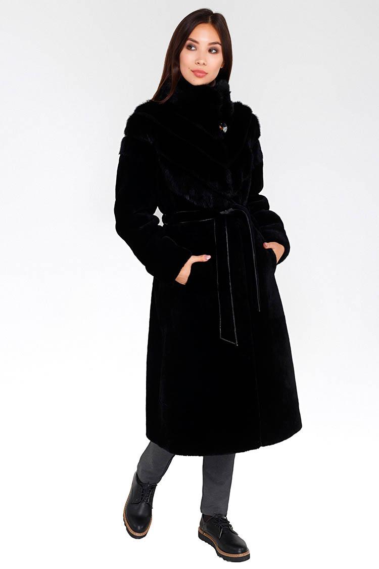 Шуба женская из мутона черная, модель 7012