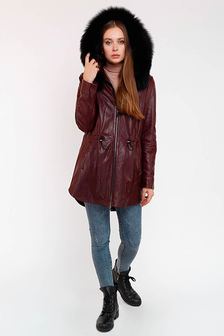 Куртка женская из натуральной кожи красная, модель DC-1638