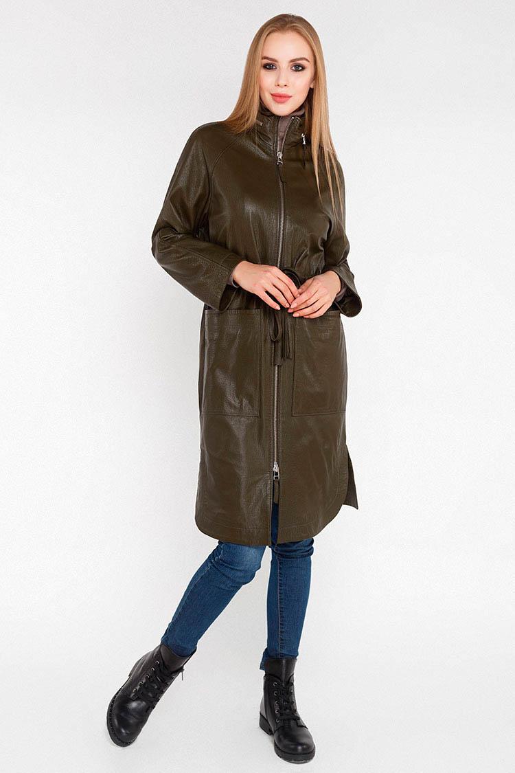 Куртка женская из натуральной кожи зеленая, модель B-900