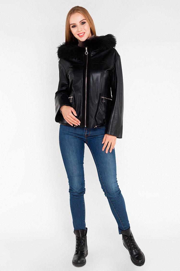 Куртка женская из натуральной кожи черная, модель B-910
