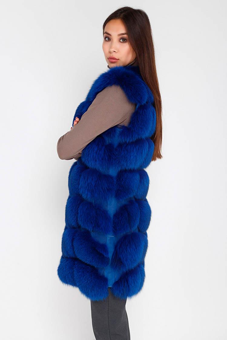 Жилет женский из песца синий, модель 002