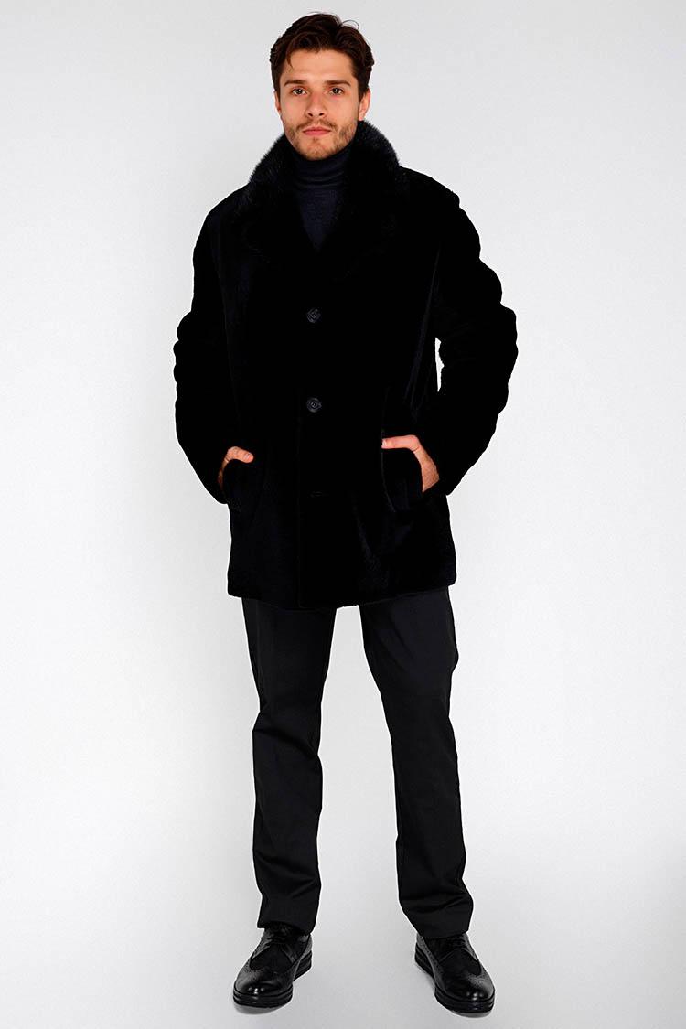Шуба мужская из кенгуру черная, модель 6054