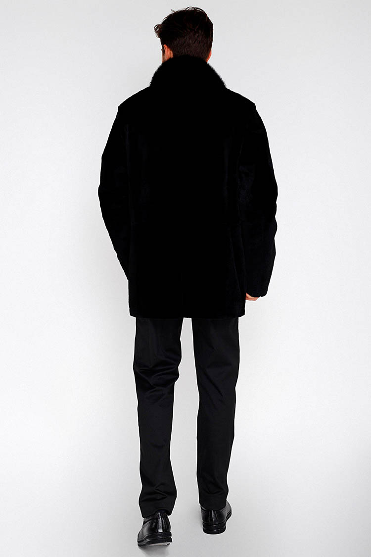 Шуба чоловіча з кенгуру чорна, модель 6054