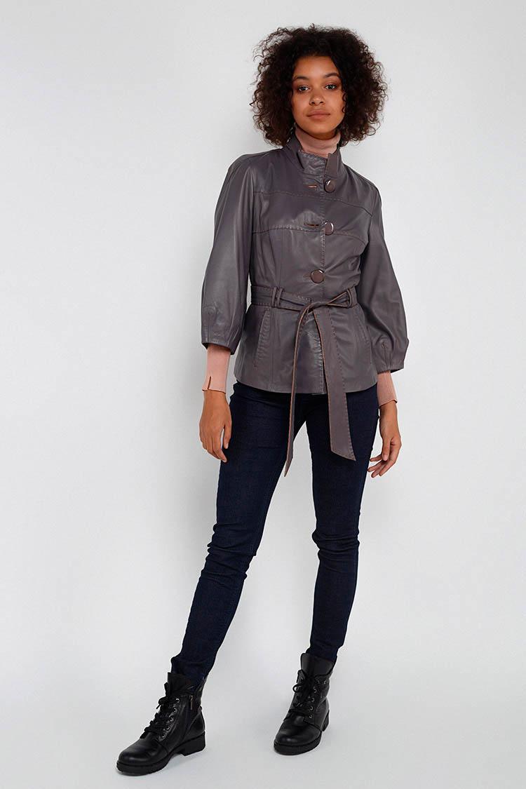 Куртка женская из натуральной кожи серая, модель B-1166