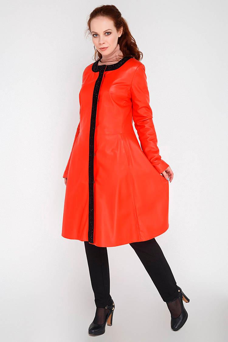 Куртка женская из натуральной кожи красная, модель B-1614