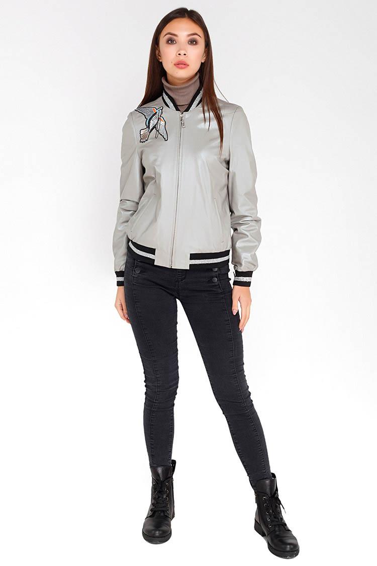 Куртка женская из натуральной кожи серая, модель B-1777