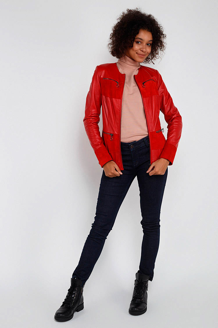 Куртка женская из натуральной кожи красная, модель B-1734