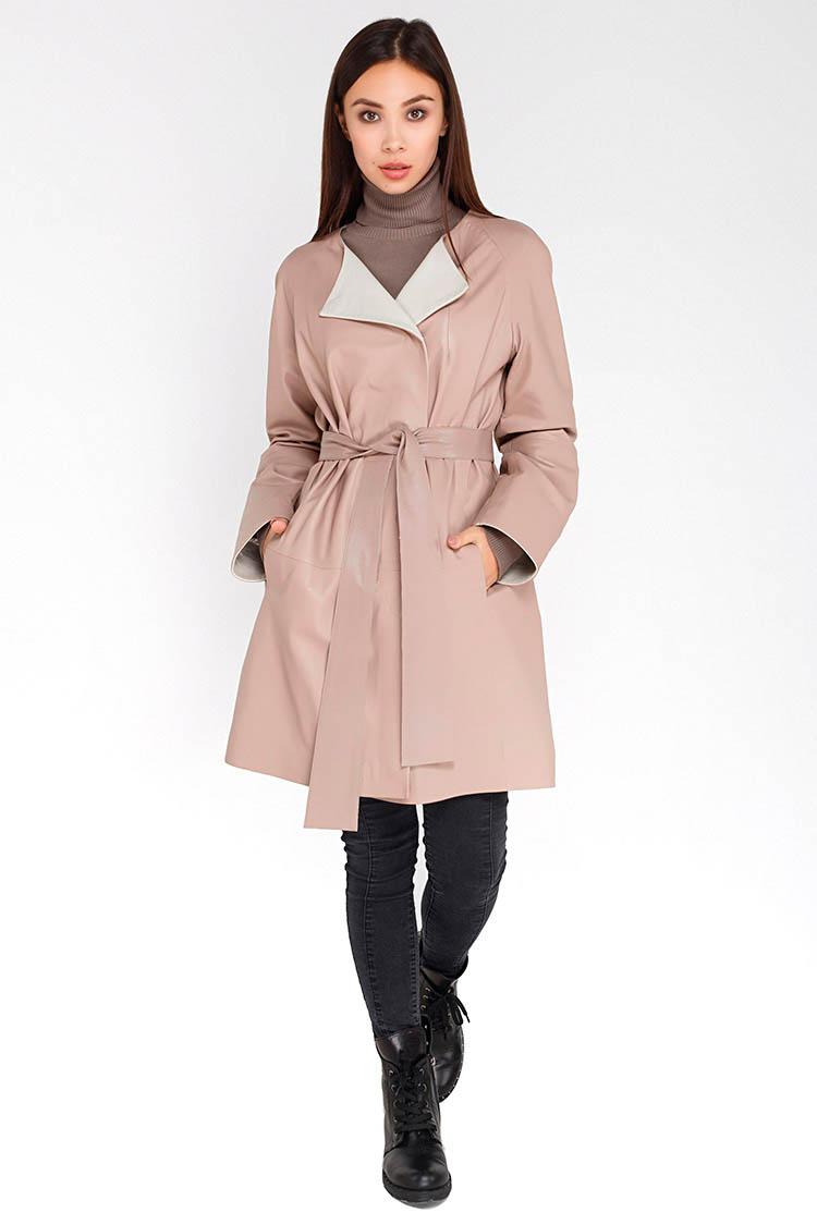 Куртка женская из натуральной кожи бежевая, модель B-1724