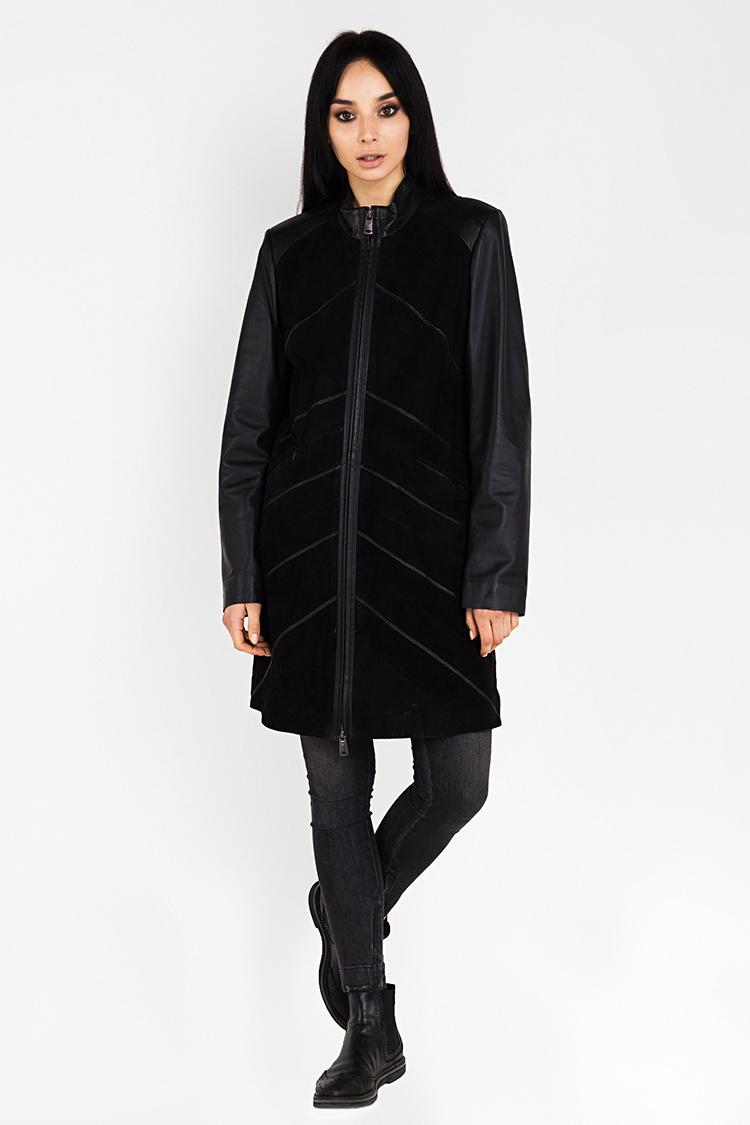 Куртка женская из замша черная, модель B-1369