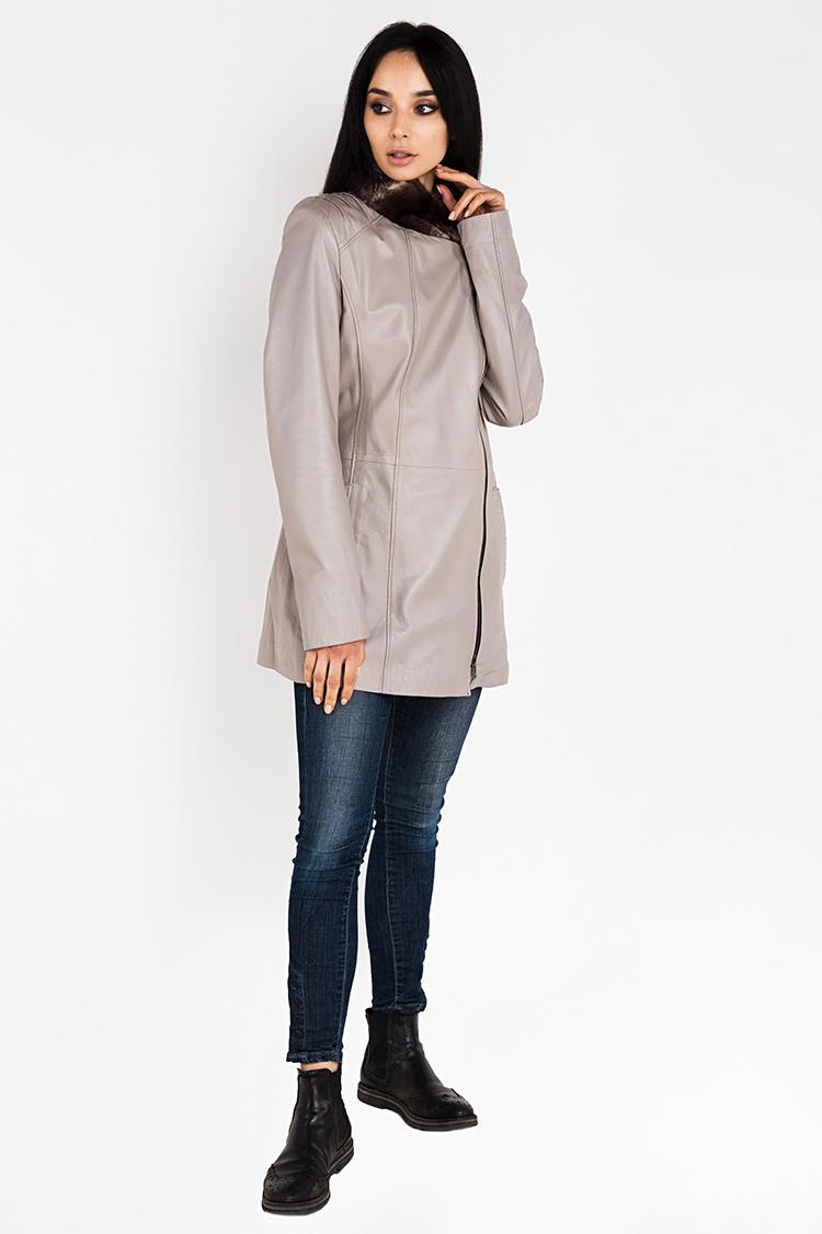 Куртка женская из натуральной кожи бежевая, модель B-1205