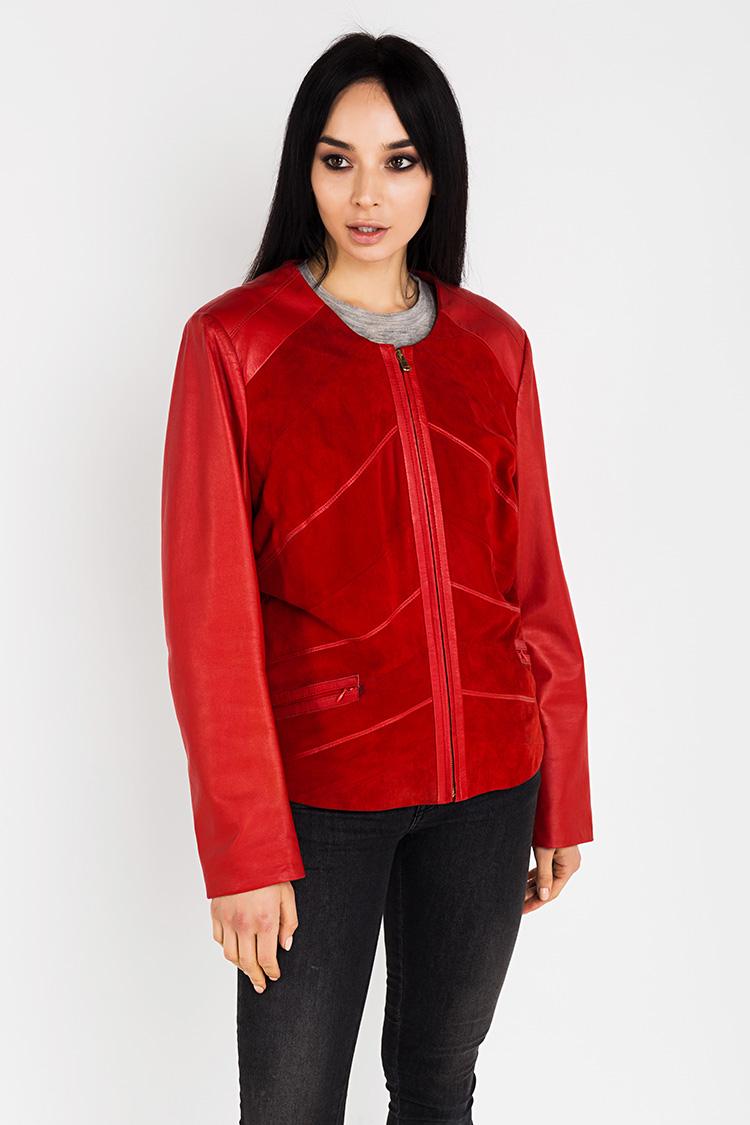 Куртка женская из замша красная, модель B-1117