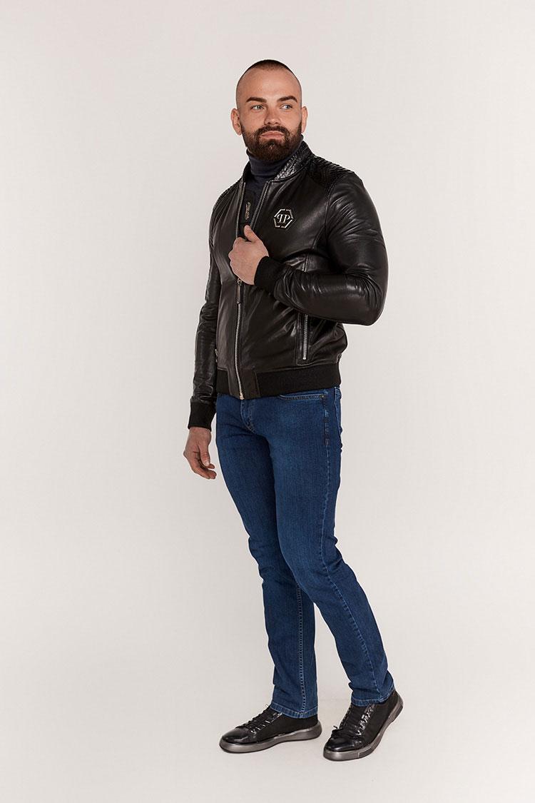 Куртка мужская из натуральной кожи черная, модель E-1