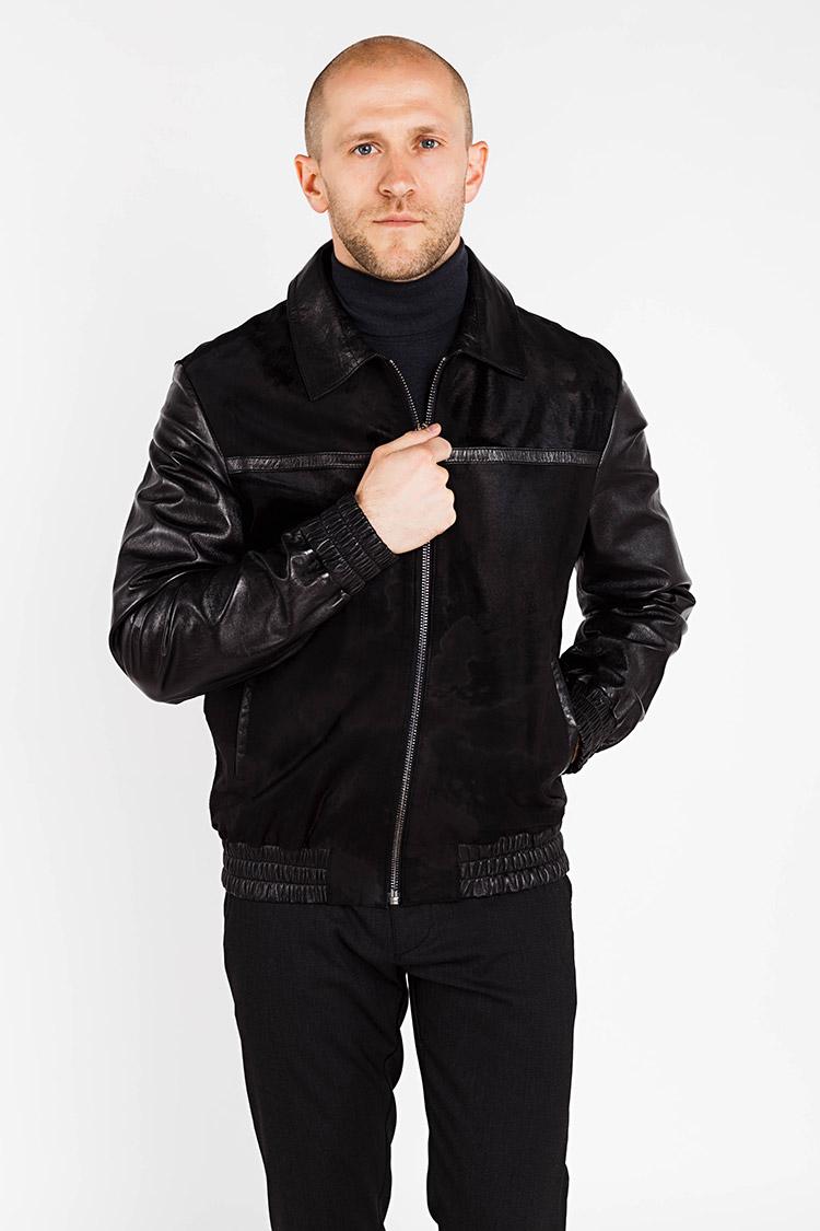 Куртка чоловіча з натуральної шкіри чорна, модель Z-56