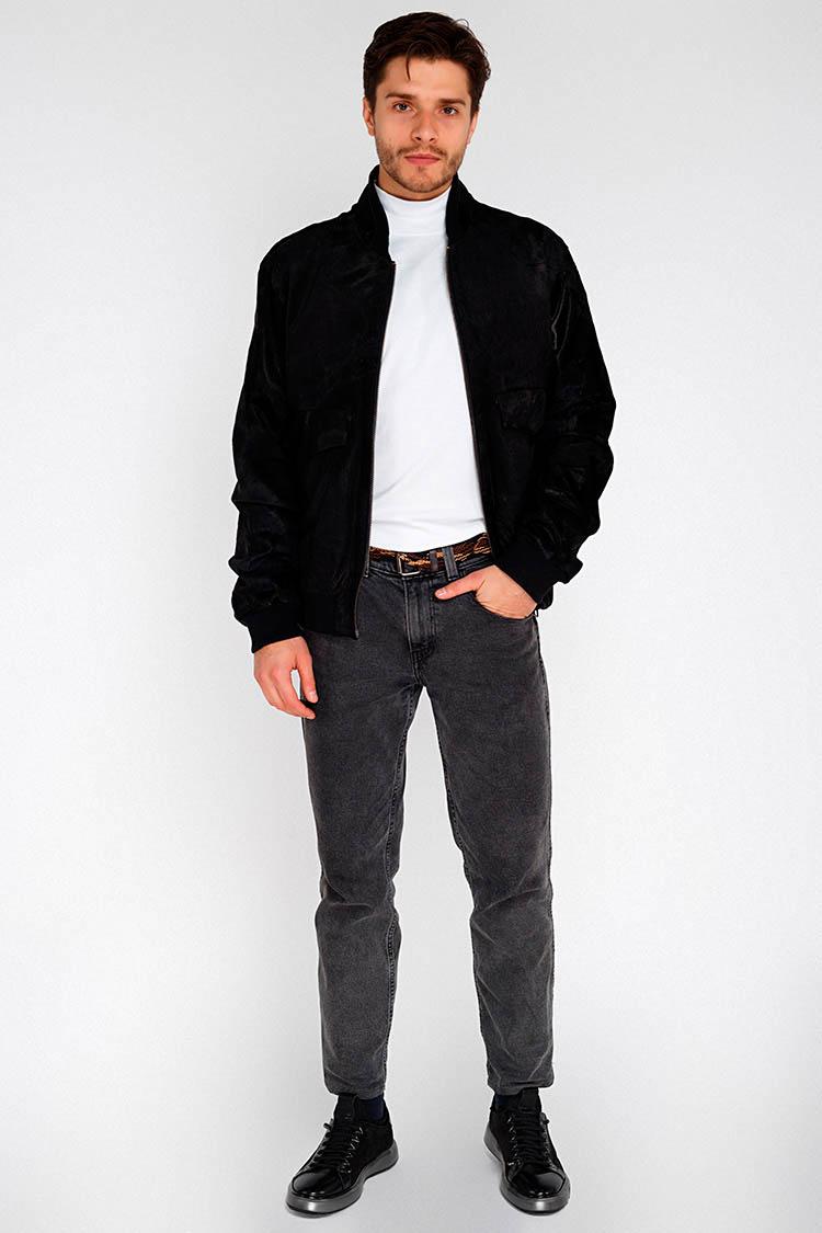 Куртка мужская из натуральной кожи черная, модель PP-13