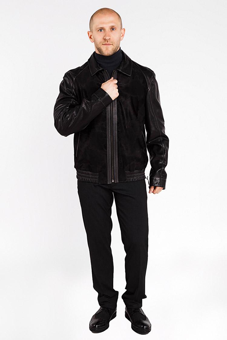 Куртка мужская из натуральной кожи черная, модель YSL-02