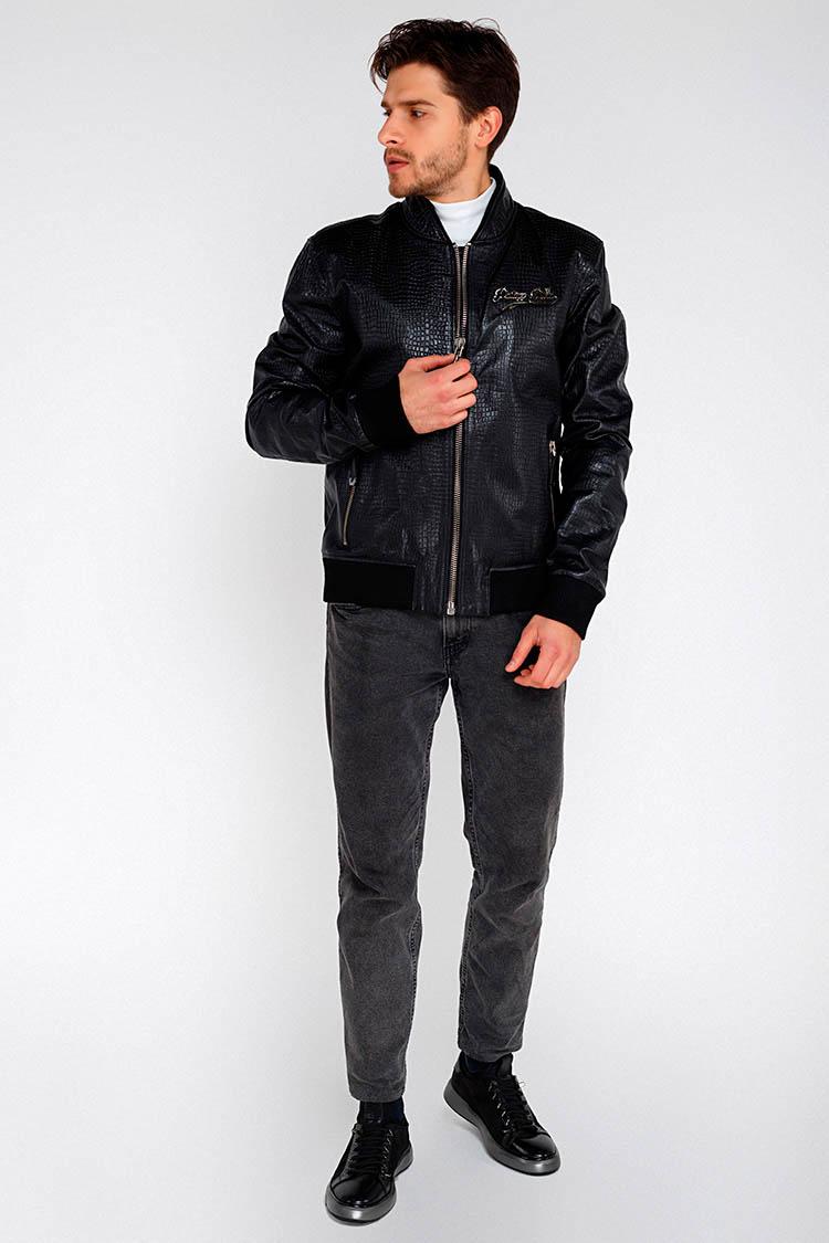 Куртка мужская из натуральной кожи черная, модель M-20