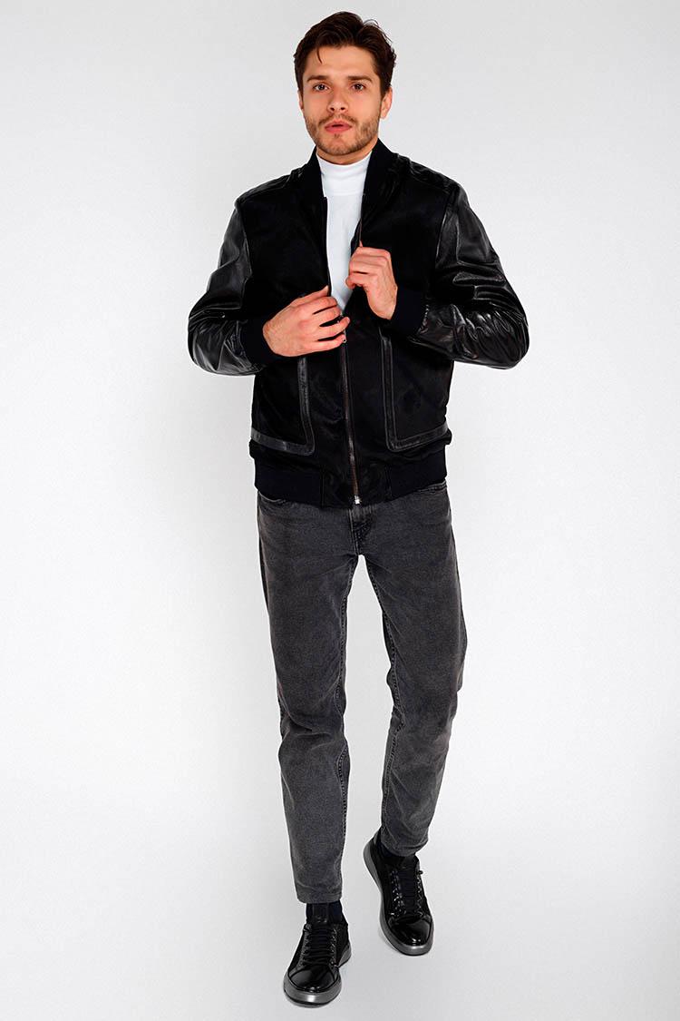 Куртка мужская из натуральной кожи черная, модель PP-03